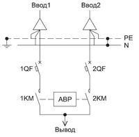 Схема АВР с двумя вводами и одним выводом