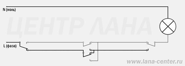 Схема подключения проходных и перекрестных выключателей для трёх точек управления